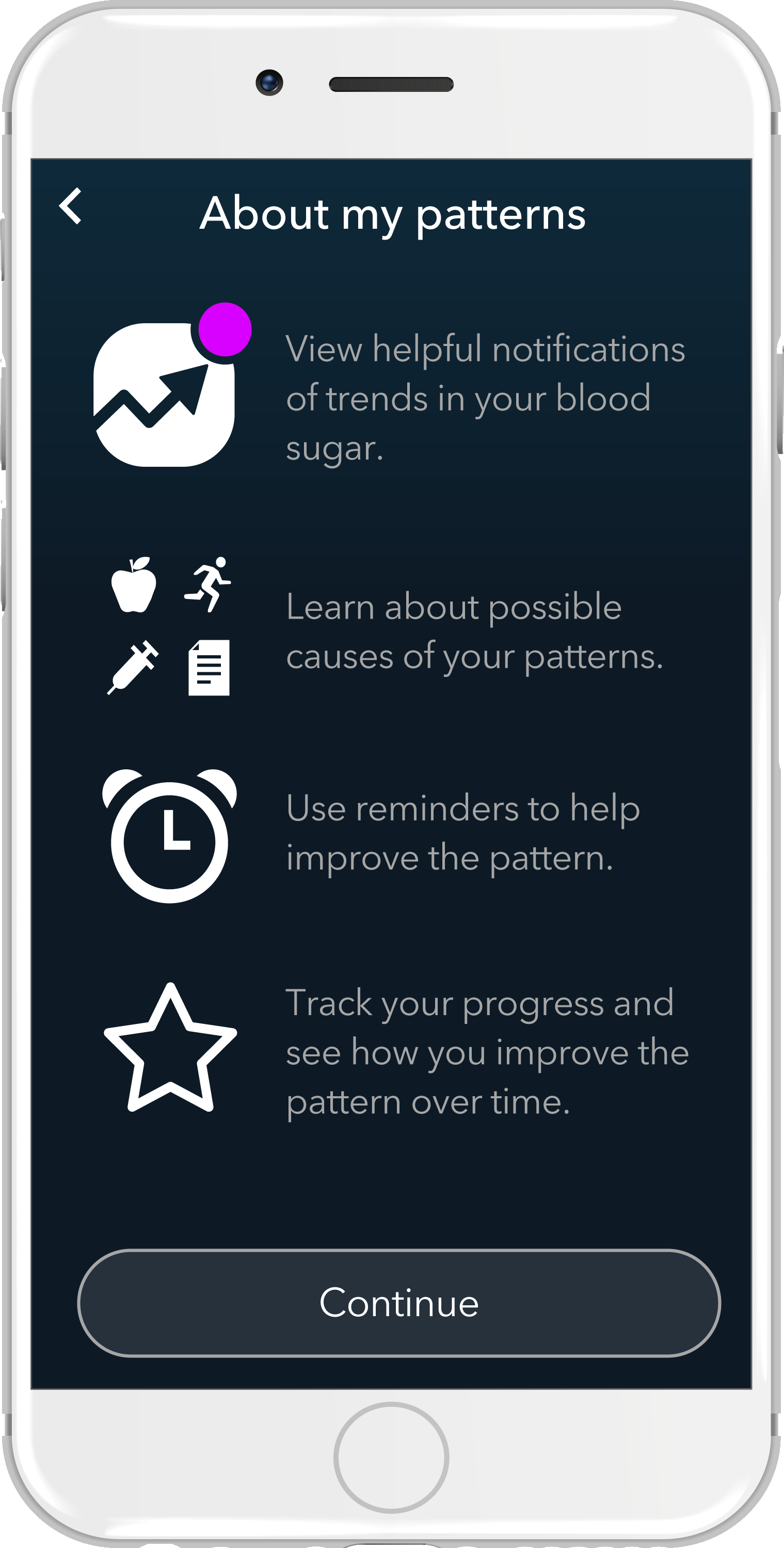 The app provides options for personalized testing